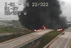 Tanker fire closes Interstate 81 near Harrisburg